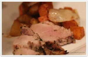 Pork roast with roasted veggies