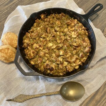 Mom's stuffing in cast iron skillet