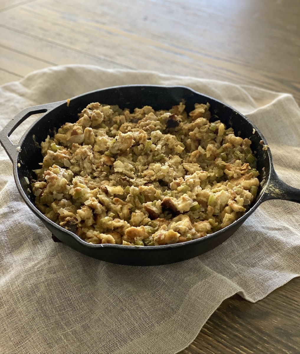 mom's stuffing before the oven, in cast iron skillet