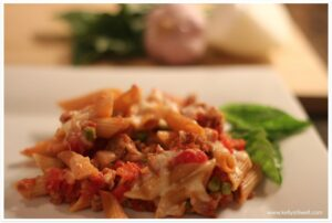 Baked Penne with Tomatoes & Turkey Sausage
