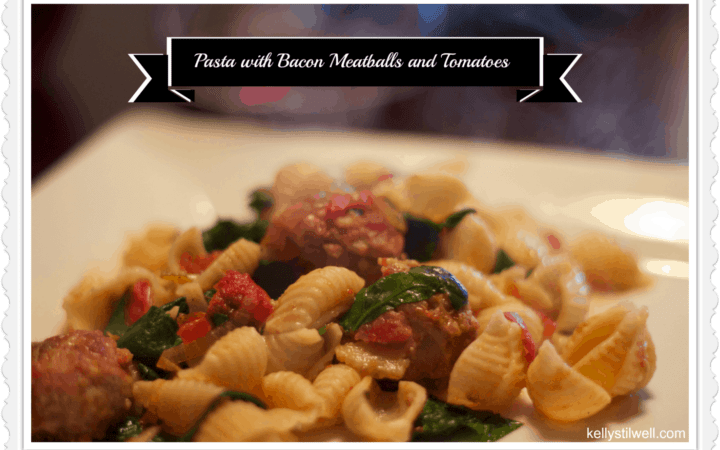 pasta with Bacon meatballs and tomatoes