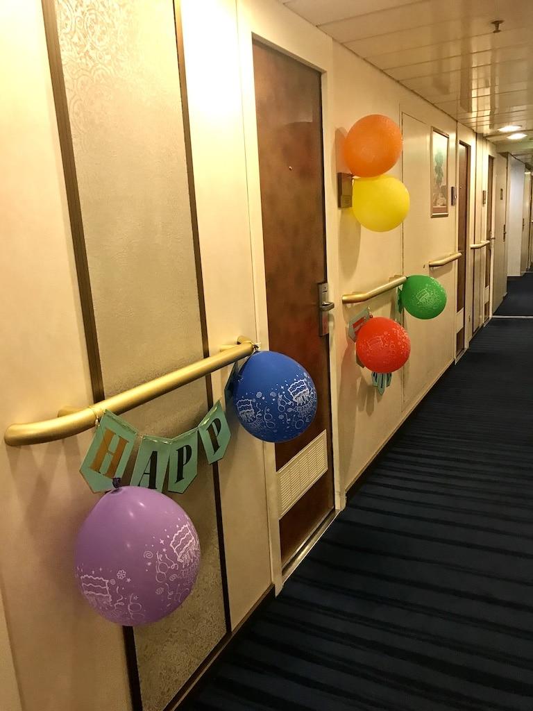 decorated cruise cabin door on Holland America