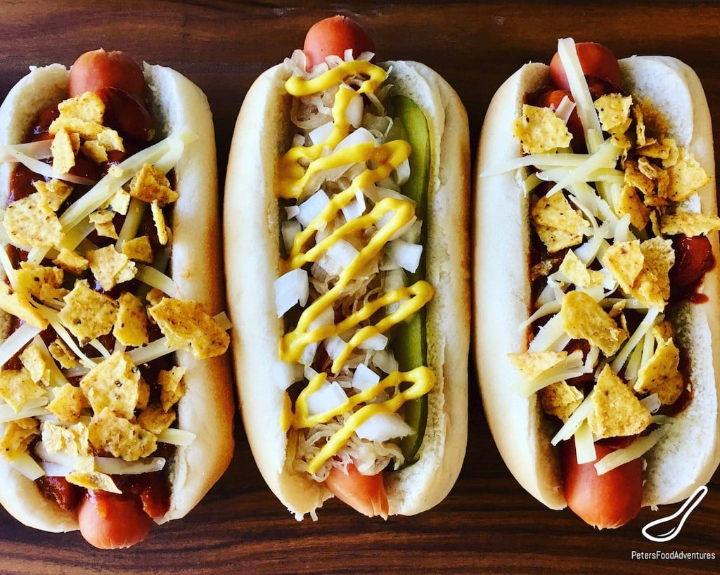 hot dogs loaded with toppings