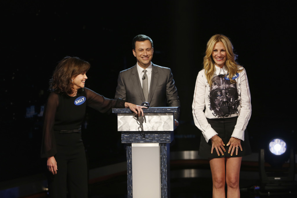 """""""Jimmy Kimmel Live""""  guests for MONDAY, MAY  (Randy Holmes/ABC via Getty Images) SALLY FIELD, JIMMY KIMMEL, JULIA ROBERTS"""