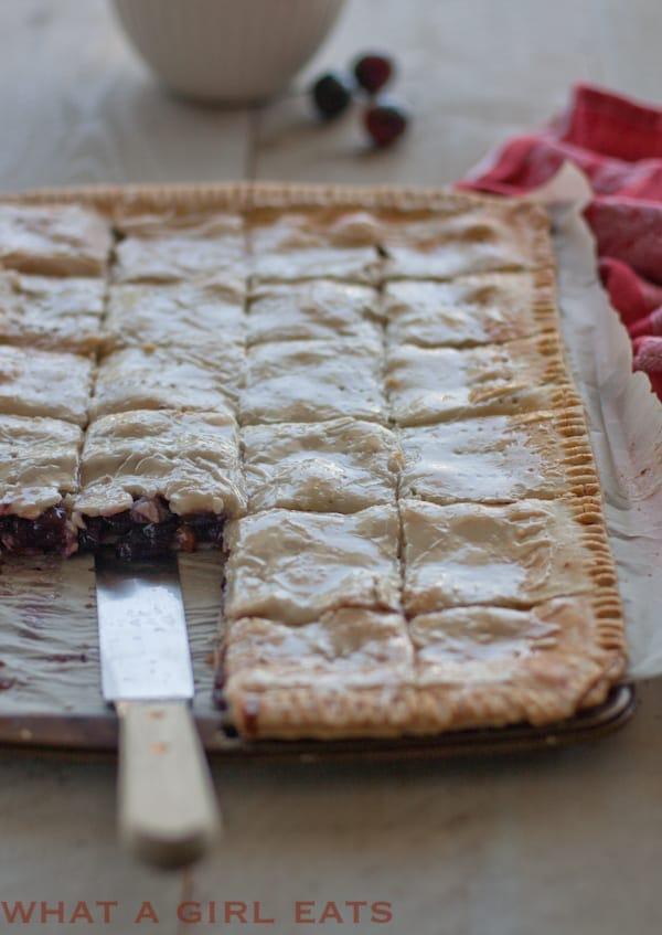 large rectangular fruit pie