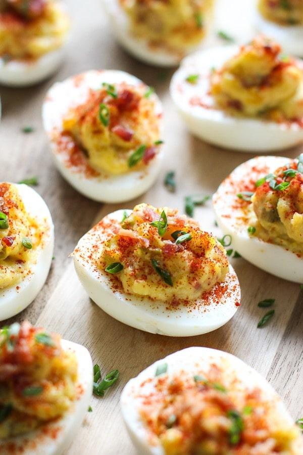 deviled eggs on wood table