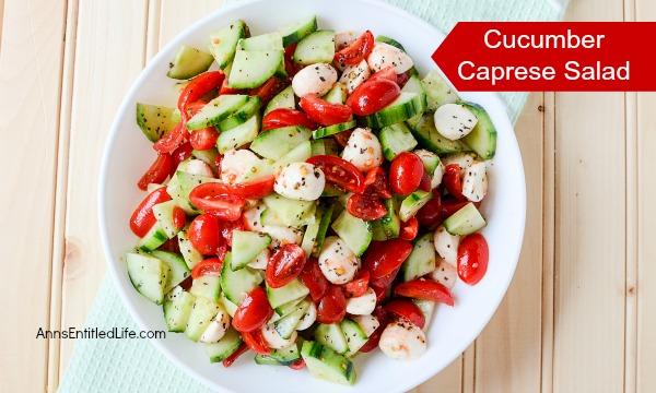 cucumber, mozzarella, and tomato salad in a white bowl