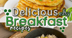 Potato pancake and oatmeal breakfast graphic for Pinterest.