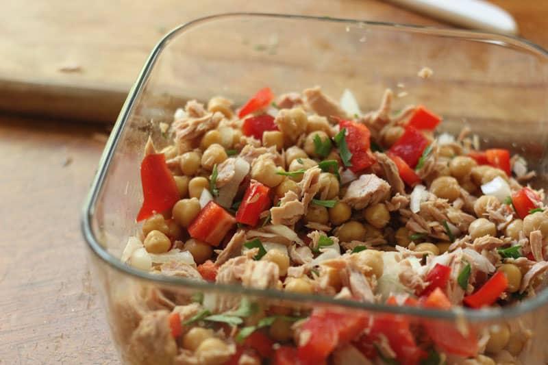 tuna salad in a glass bowl
