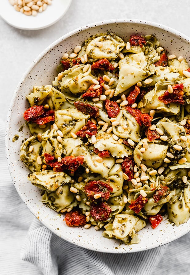 tortellini pasta with tomatoes and pine nuts