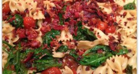 bacon tomato spinach farfalle