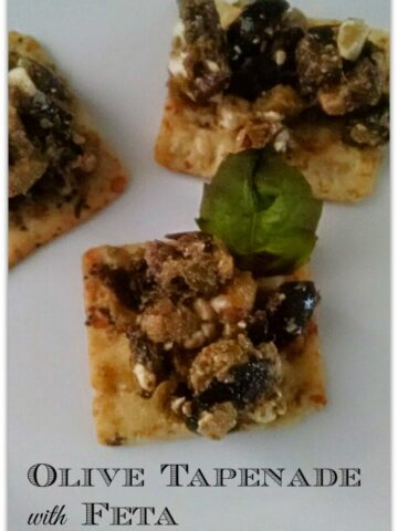 This Olive Tapenade with Feta appetizer is the perfect food to serve at your Christmas or New Year's Party! The recipe is easy and delicious, and you'll be out of the kitchen in no time!