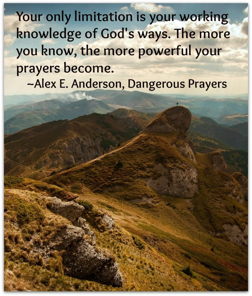 In his book, Dangerous Prayers, Pastor Alex E. Anderson shares life-changing concepts about prayer. This is a quote from the book.
