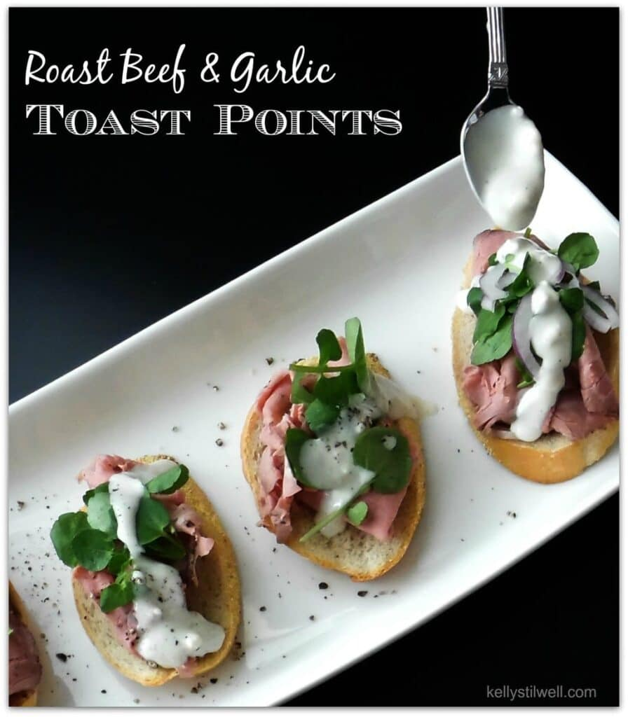 This recipe for Roast Beef and Garlic Toast Points is the perfect appetizer. When you have to bring food to a party, don't rush to pick up a platter when you can DIY a beautiful and delicious starter.