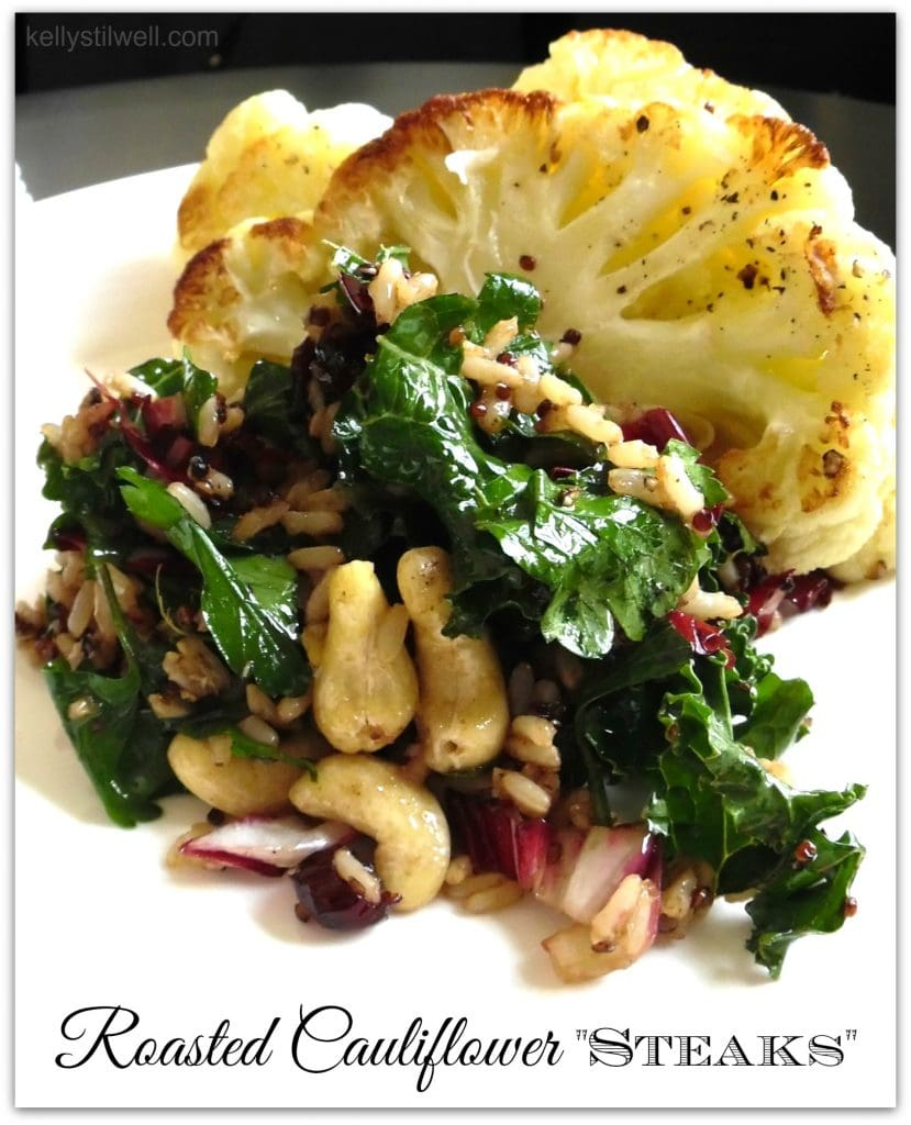 Vegetarian dishes are some of my favorite foods. What I love about this Roasted Cauliflower Steaks recipe is that you can get these vegetables year round, and quinoa is so healthy. Add this to your dinner recipes!