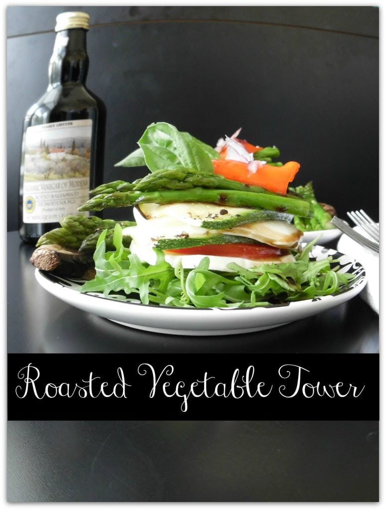 This Roasted Vegetable Tower is nutritious and delicious! It makes an elegant presentation for dinner, and could be used for an appetizer, too. Also great when you need vegetarian dinner recipes. If yellow peppers are fresher, they would work well, too.