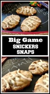 Need a great recipe to bring to that Big Game party? Why not make these Snickers Snaps Cookies? I love desserts that don't need utensils, too, and you can grab these cookies and get back to the game!