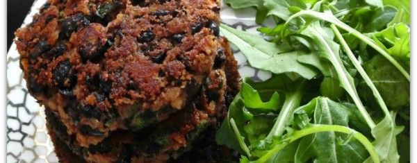 These Black Bean Burgers are so healthy. We like to eat vegetarian a couple of times a week, and this is one of my favorite easy recipes. It can be made for dinner, served alongside a salad, but could also be made smaller for appetizers.