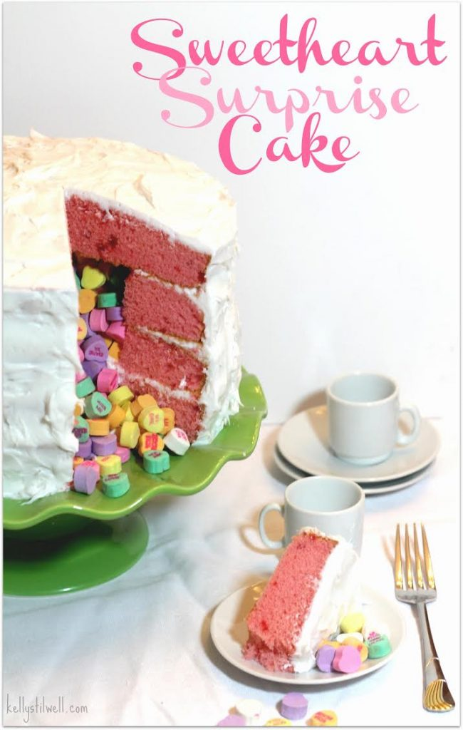 This Sweetheart Surprise cake is such an easy dessert! You don't have to be a craft or DIY person to be able to make this fun recipe. Just follow the directions and fill with those little hearts with love quotes on them. Bring this to a party or make it for your family. What a fun way to say I love you!