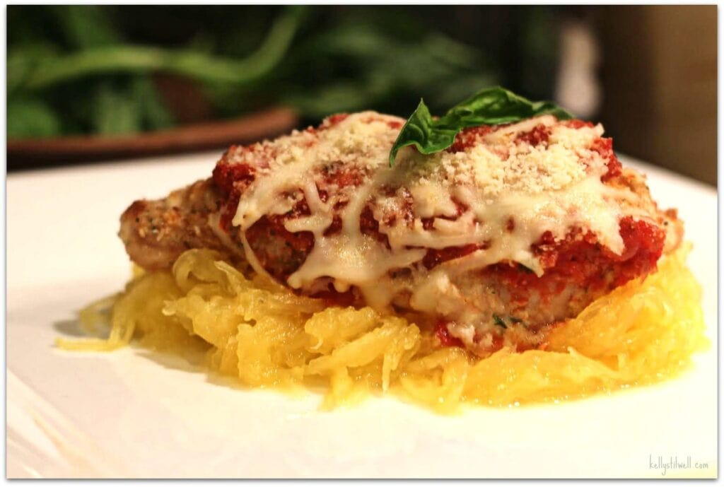 This chicken parmesan is one of my favorite recipes. When you're looking for a delicious chicken recipe, it doesn't get much easier then this. Serve with spaghetti squash as your vegetable in place of the pasta!
