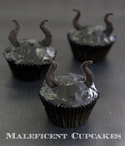 black cupcakes with horns coming out of top