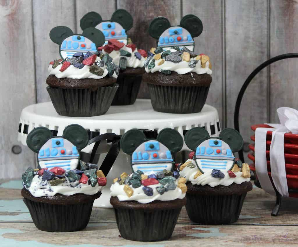 cupcakes with Mickey Mouse R2D2 on top