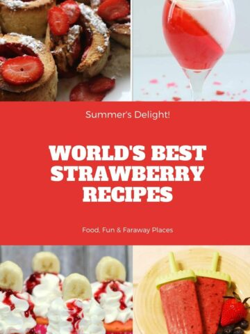 strawberry recipes on a Pinterest image