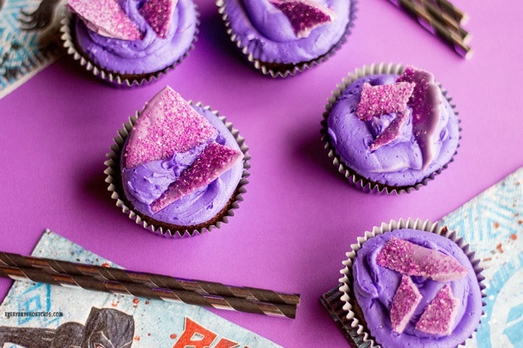 Purple cupcakes with sparkly candy on top