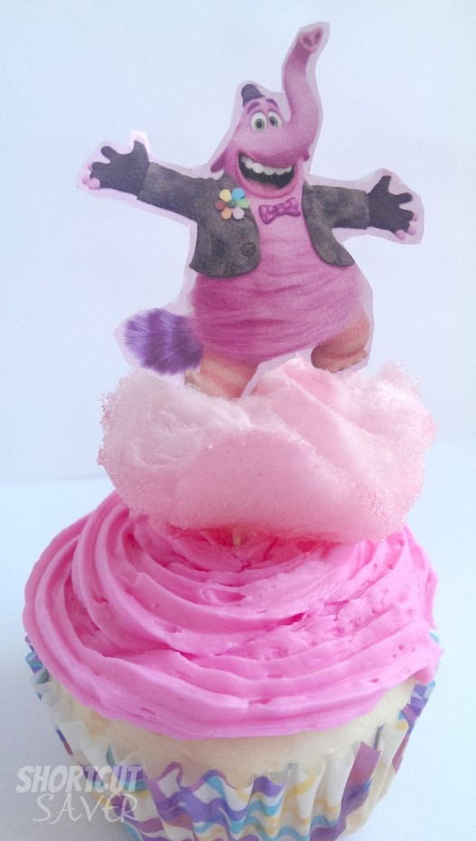 pink cupcakes with Bing Bong character on top