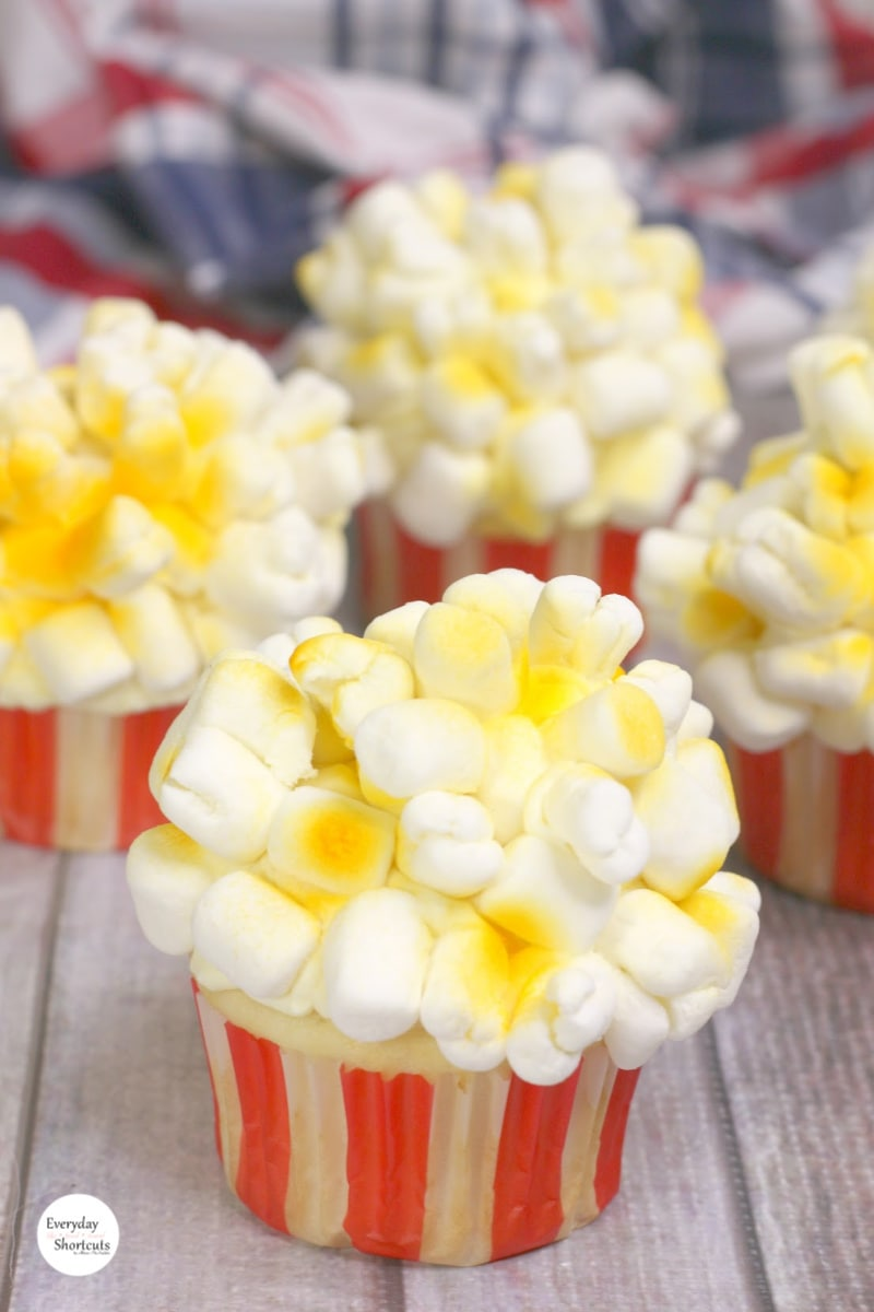 cupcakes made to look like buttered popcorn