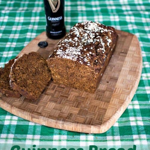 Guinness Bread on a wooden cutting board