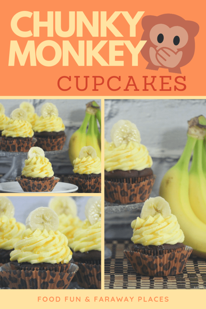 I made these Chunky Monkey Cupcakes to celebrate the opening day of Disneynature's Monkey Kingdom.This version of the Chunky Monkey Cupcake is so moist and delicious, largely because of the pudding in the cake recipe.
