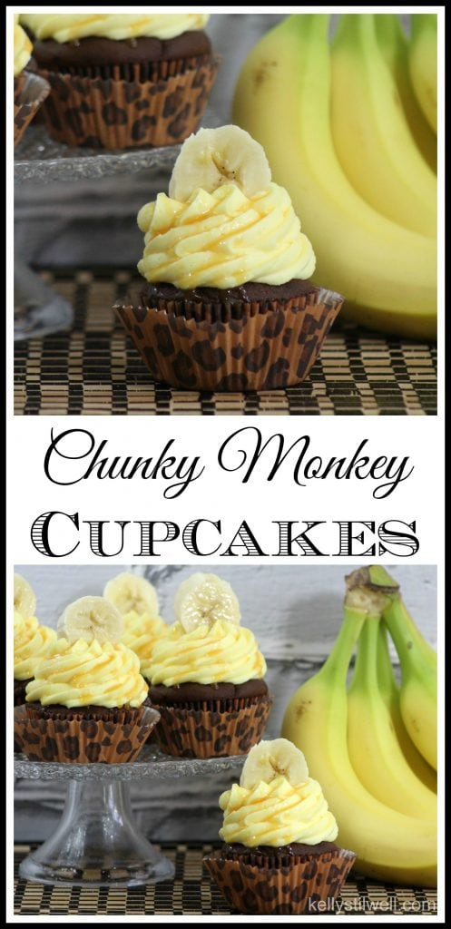 I made these Chunky Monkey Cupcakes to celebrate the opening day of Disneynature's Monkey Kingdom. This version of the Chunky Monkey Cupcake is so moist and delicious, largely because of the pudding in the cake recipe. #ChunkyMonkey #BananaCupcakes #ChunkyMonkeyDessert