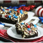 red, white, and blue brownies