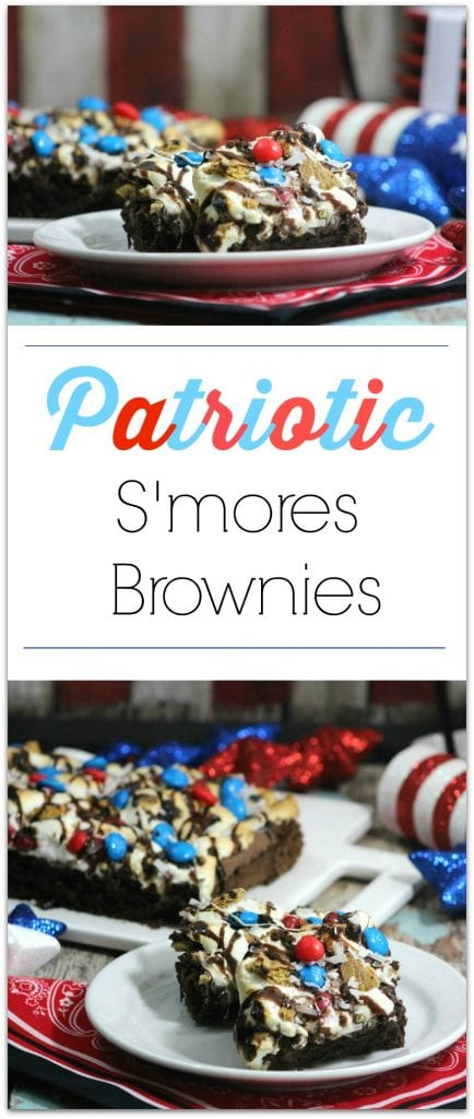 Head to the kitchen instead of the bakery and DIY this Patriotic S'mores Brownie recipe! Perfect for summer parties! Good any time of year, but we've decorated them for a patriotic holiday! Such a delicious dessert!