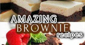 Cream cheese brownies and chocolate brownies.