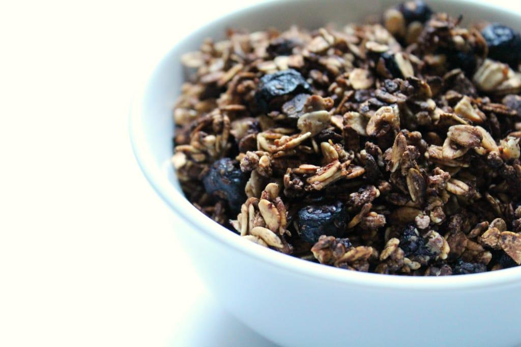 Blueberry vanilla flax granola in white bowl