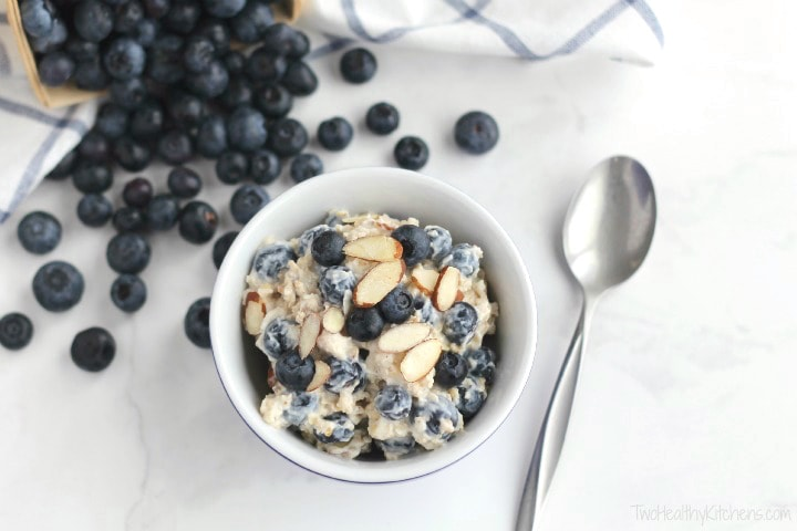 almond and blueberries in oatmeal
