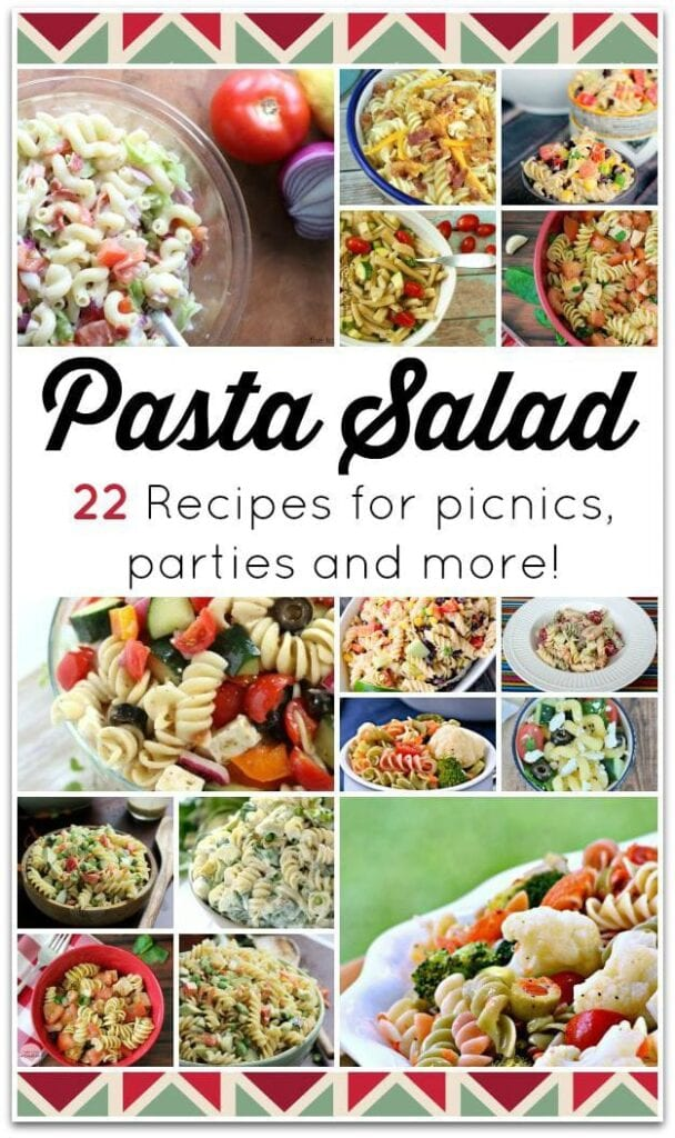 These 22 delicious pasta salad recipes are perfect for bringing something special to a party! We have simple pasta salad recipes, chicken recipes, and even vegetarian recipes. Most of these are easy recipes, perfect for summer when you want to make your kitchen time as little as possible. I love dinner recipes that I know my family will love!