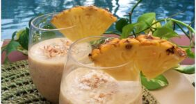 This recipe for Pineapple Peach Pie Smoothies is all natural, sweetened with honey and fruit! It's a great breakfast or pick-me-up in the afternoon! It tastes like an island vacation! One of my favorite summer recipes!