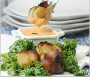 Broiled Bacon Wrapped Scallops with Spicy Dipping Sauce