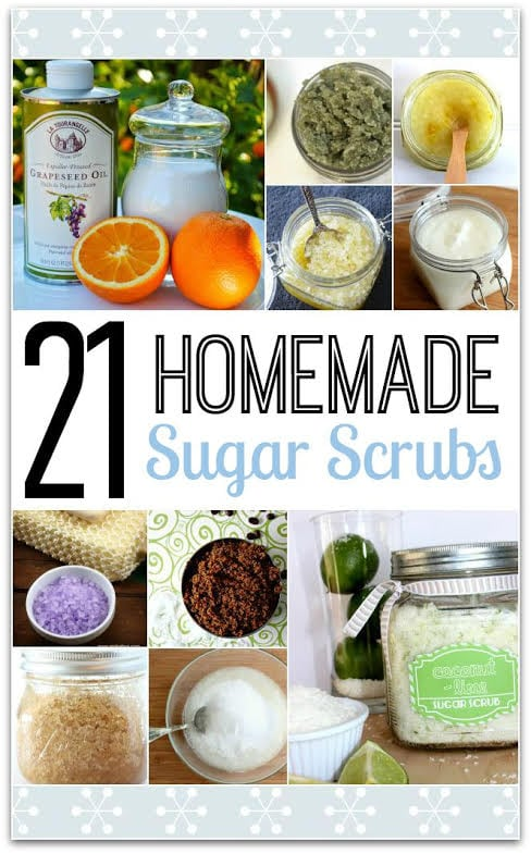 Homemade Sugar Scrubs are all the rage right now. Making them with your own ingredients is the way to go! Why buy when you can DIY? Head to the kitchen and whip these up! They make great gift ideas, too! These are easy recipes, so would be great for kids crafts. Get a group together and start your DIY gifts for Christmas!