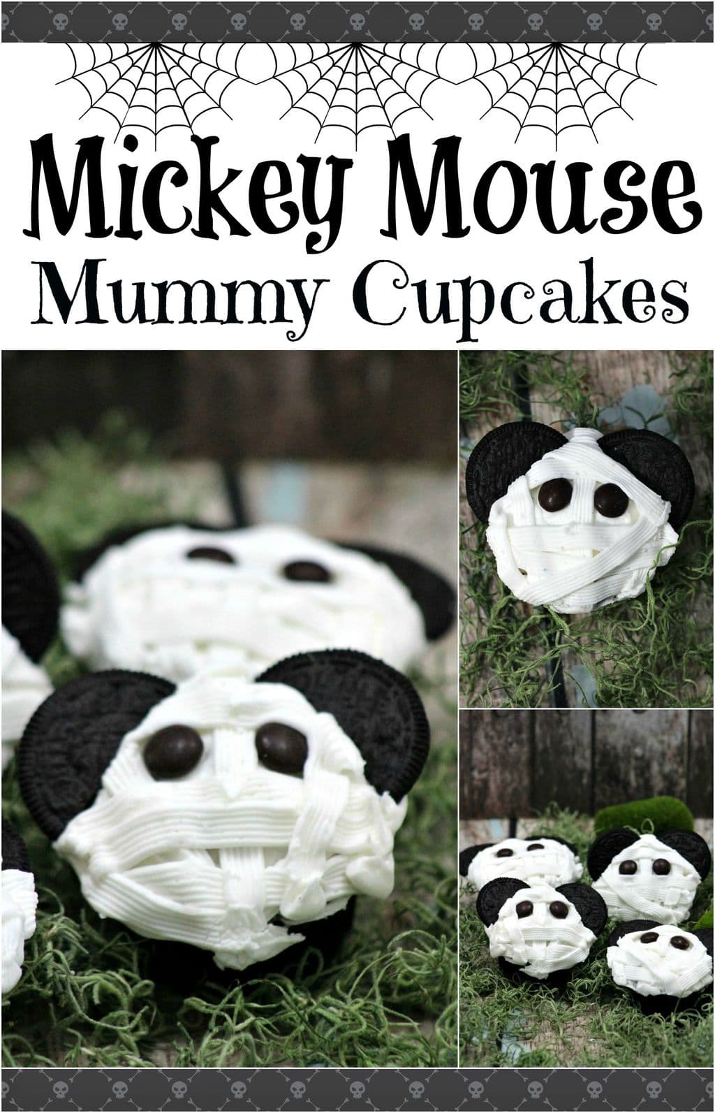 These Mickey Mouse Mummy Cupcakes are the perfect dessert to bring to a Halloween party! Everyone loves Mickey, and this dessert recipe is so easy! Let everyone else bring appetizers and snack food, and you bring this delicious sweet treat!