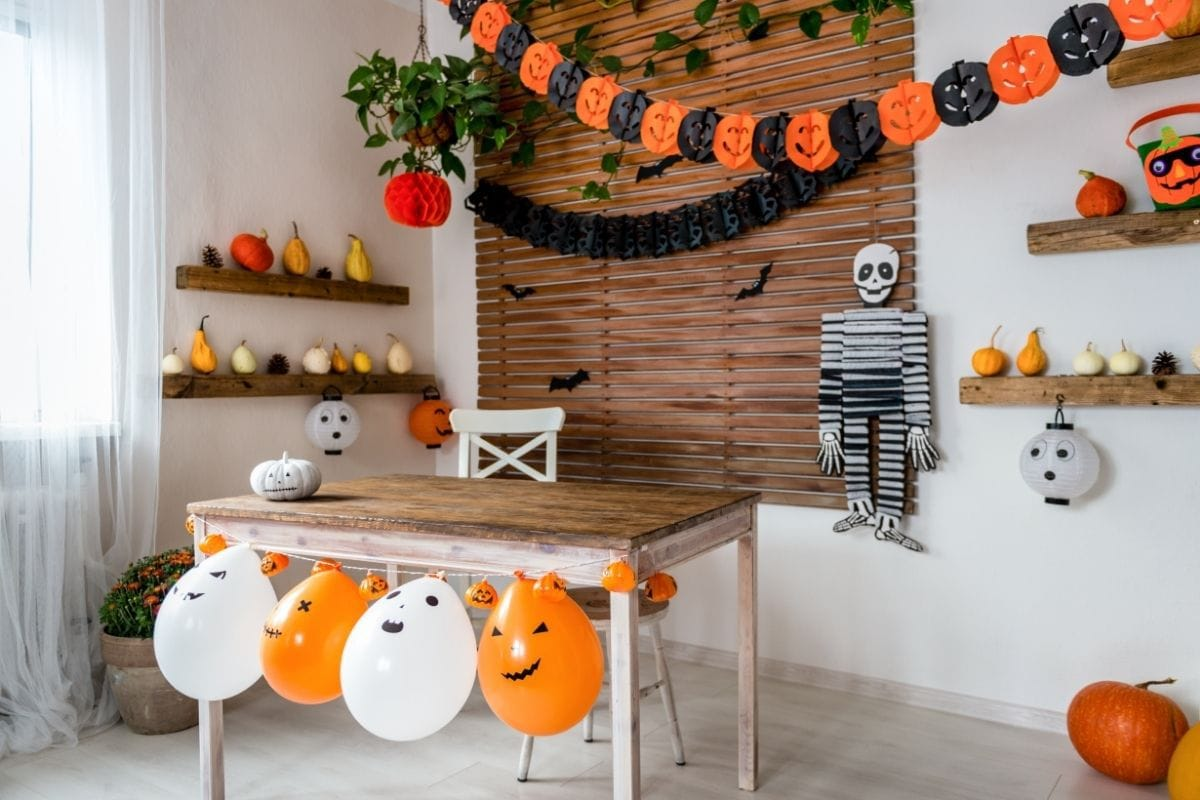 room decorated for Halloween