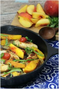 This chicken and peaches with balsamic reduction is such a delicious easy recipe. Peaches are so good in the summer, but you can find them throughout the year now. If you've never made a chicken recipe with peaches you are in for a treat! Now that autumn is here, busy moms are looking for new dinner recipes. I think you'll find it to be an easy dinner your family will love!
