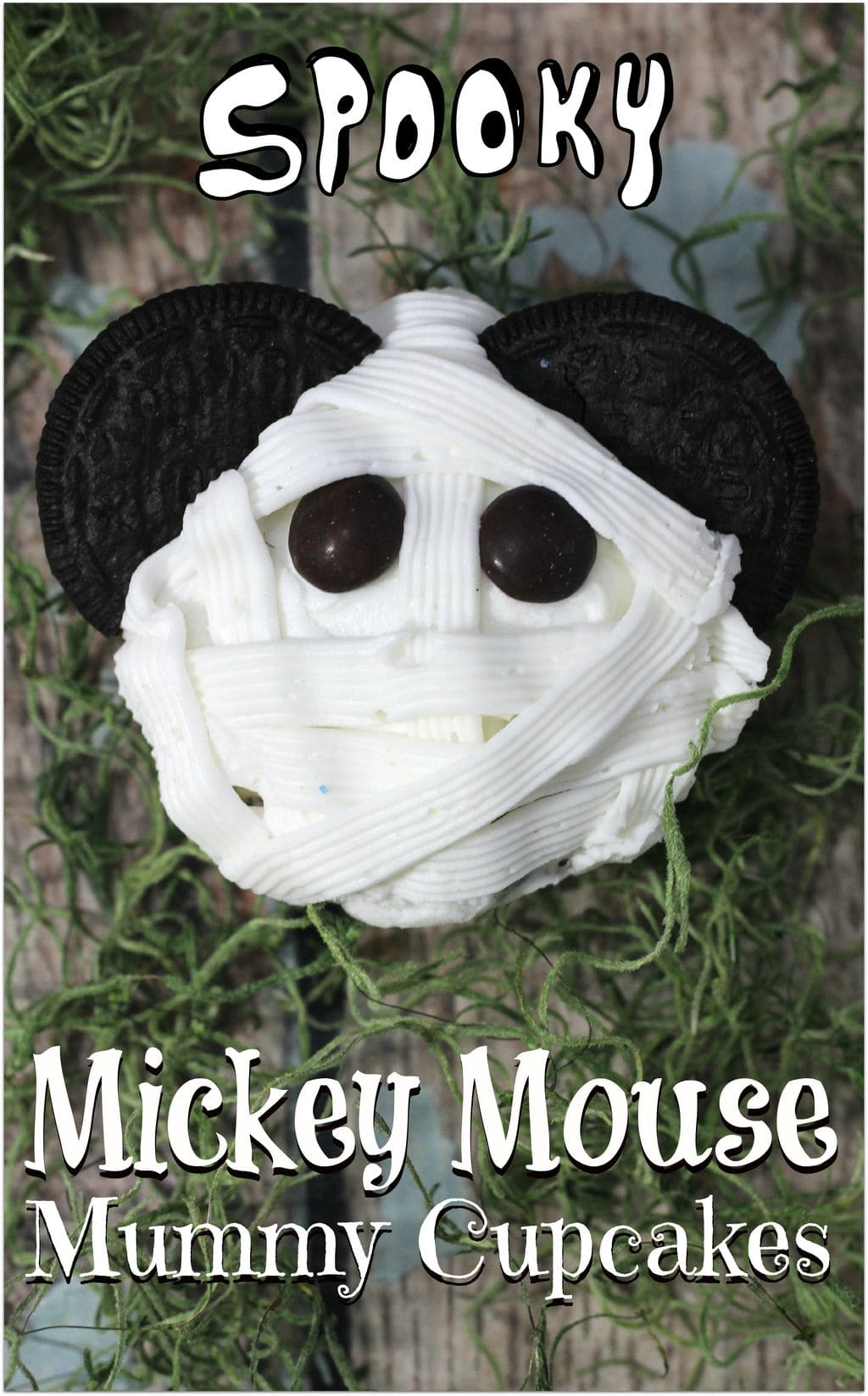 These Mickey Mouse Mummy Cupcakes are the perfect dessert to bring to a Halloween party! Everyone loves Mickey, and this dessert recipe is so easy! Let everyone else bring appetizers and snack food, and you bring this delicious dessert!