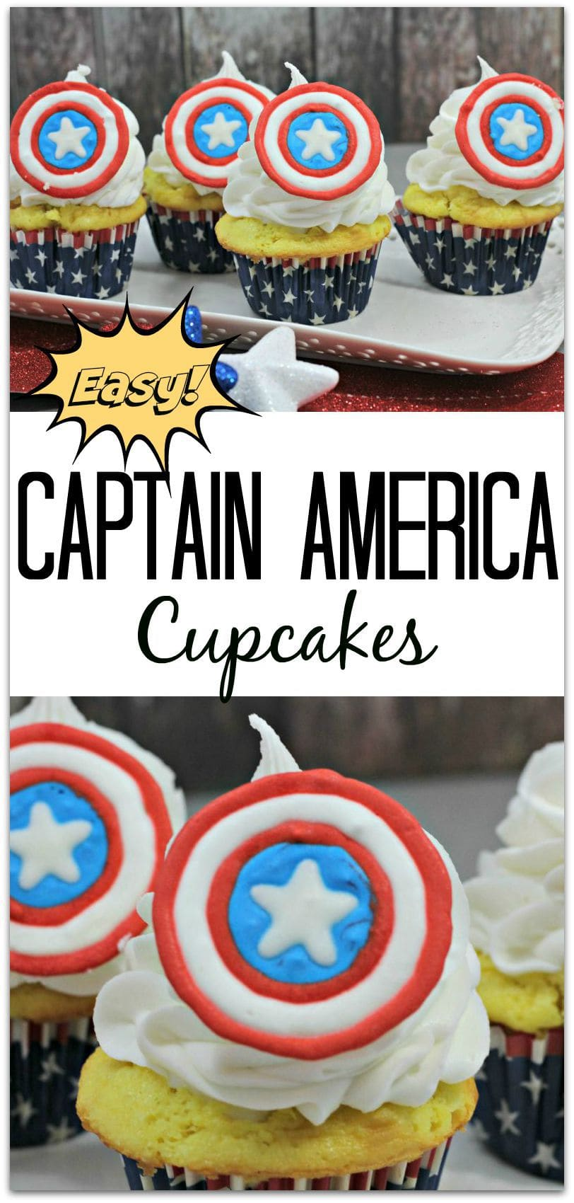 easy captain america cupcakes food fun faraway places. Black Bedroom Furniture Sets. Home Design Ideas