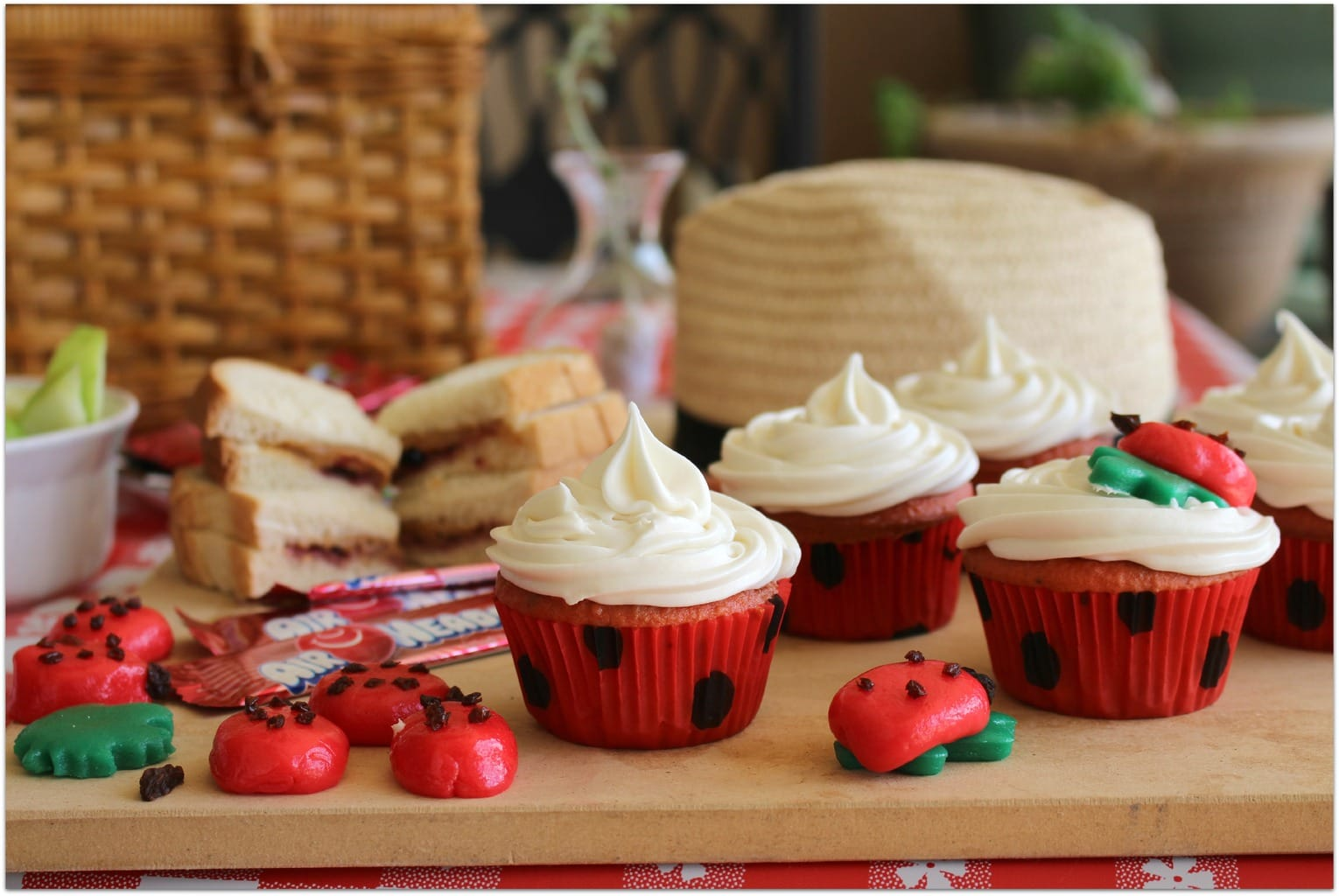 These Ladybug cupcakes are the perfect dessert for a Ladybug Picnic! This is such an easy recipe, and using Airheads for the decoration made this a DIY project anyone can do! You will never buy cupcakes again! And remember, picnics aren't just for summer! Throw a blanket on the floor and grab some food for a snack! Kids crafts or printables will add to the fun on a rainy or snowy day.
