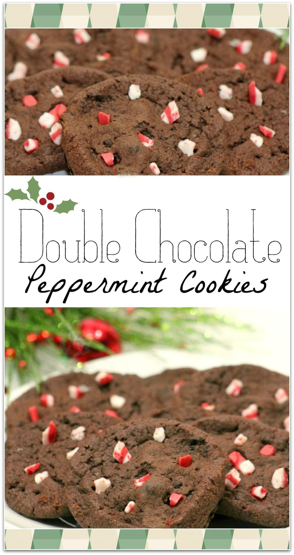 These Double Chocolate Peppermint Crunch Cookies are such and easy dessert recipe, and you won't find anyone else bringing them to the cookie exchange! So full chocolate with bits of peppermint, this is one of my favorite recipes for Christmas and the winter holidays!