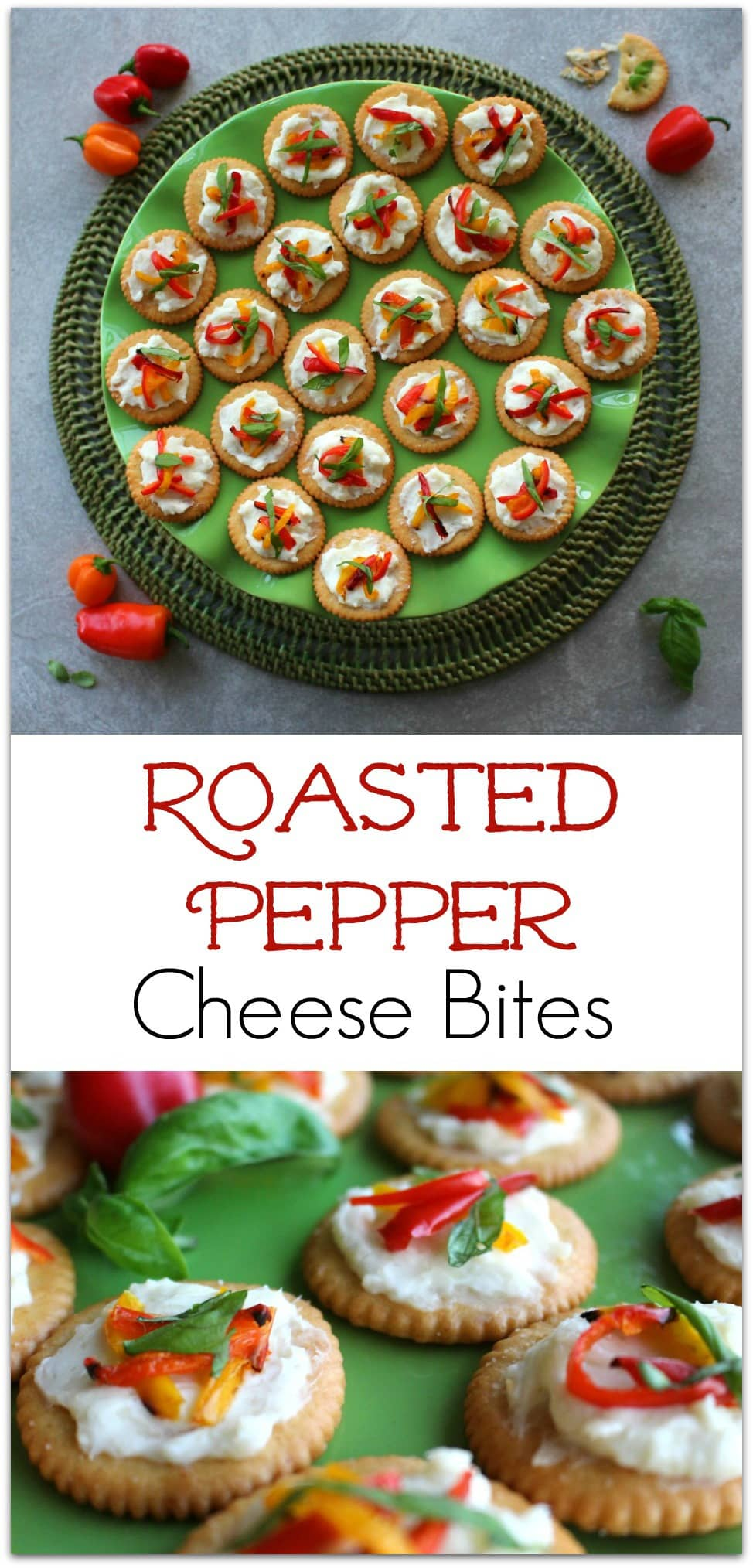 This recipe for Roasted Pepper Cheese Bites is so easy! Have friends dropping over on the fly? No worries! You can make these in minutes! Have these 5 simple ingredients on hand and you'll never be without a quick appetizers over the holidays or anytime!